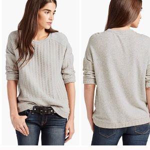 NWT Lucky Brand szXL Gray woven front sweatshirt..